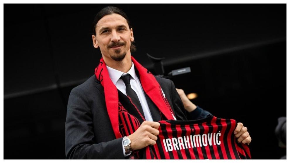 Zlatan Ibrahimovic, en su regreso al Milan en enero de 2020.