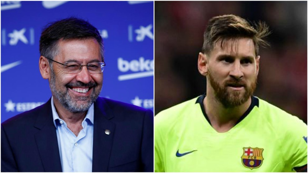 Josep Maria Bartomeu and Leo Messi.