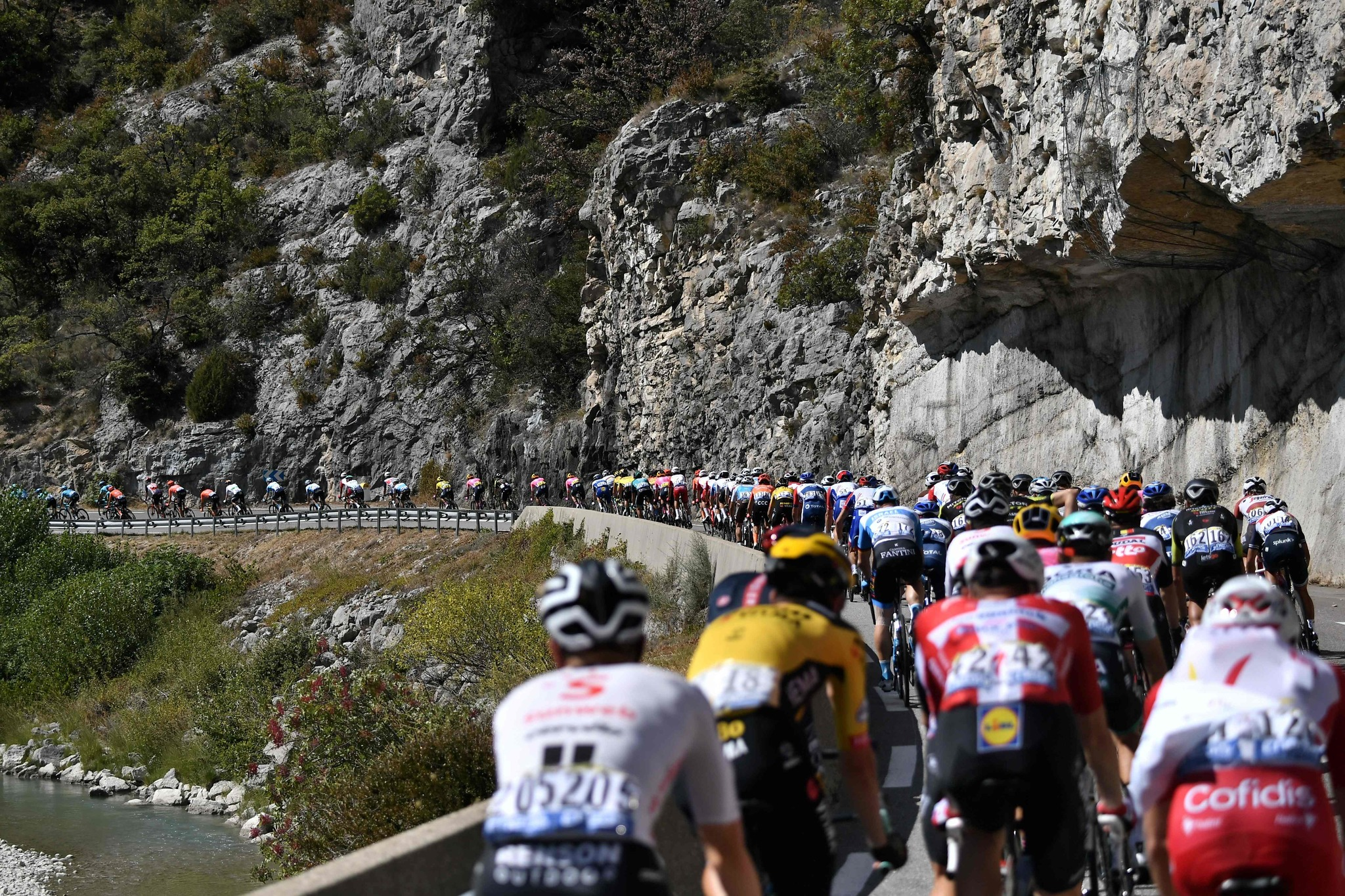 The pack rides during the 5th stage of the 107th edition of the lt;HIT gt;Tour lt;/HIT gt; de France cycling race, 185 km between Gap and Privas, on September 2, 2020. (Photo by Marco Bertorello / AFP)