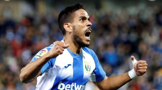 Recio celebra un gol con el Leganés.