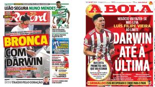 Portadas de los diarios Récord y A Bola de este viernes 4 de...