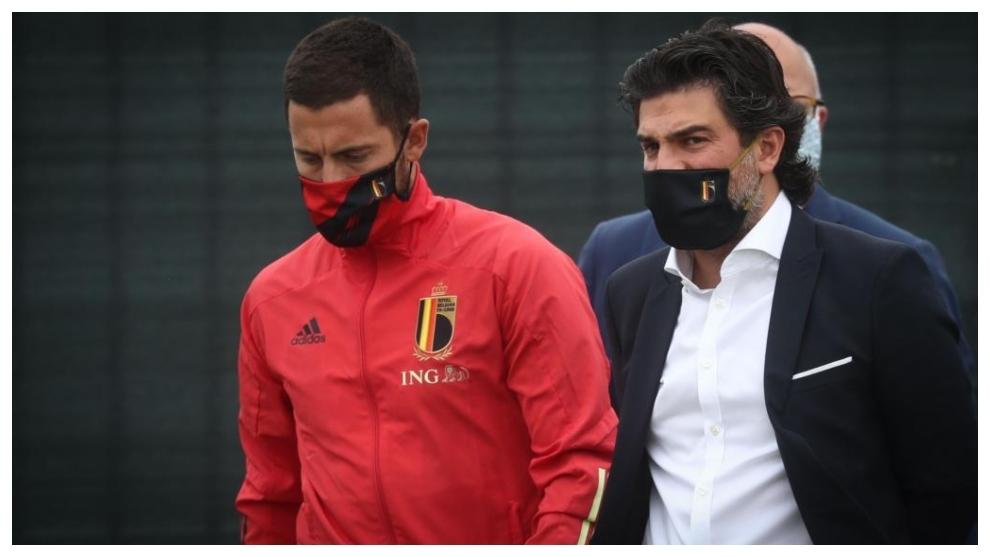 Hazard, en la concentración con Bélgica.