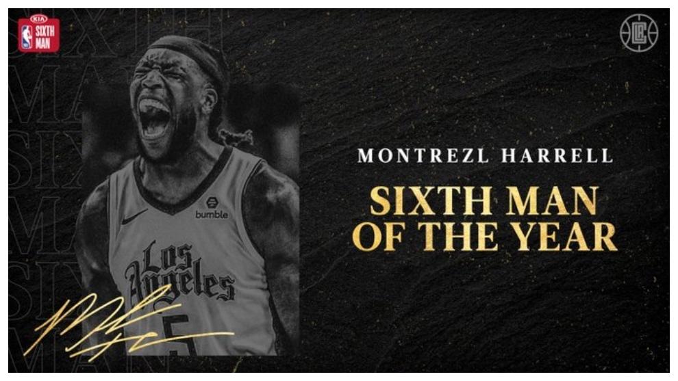 Montrezl Harrell mejor sexto hombre de la NBA. Twitter Los Angeles...