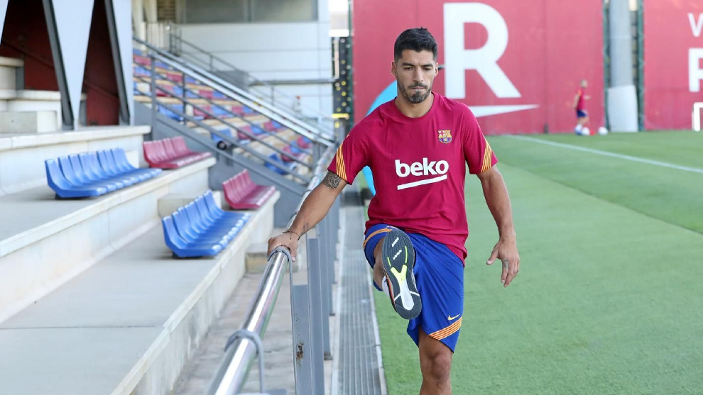 Luis Suárez, durante un entrenamiento del Barcelona.