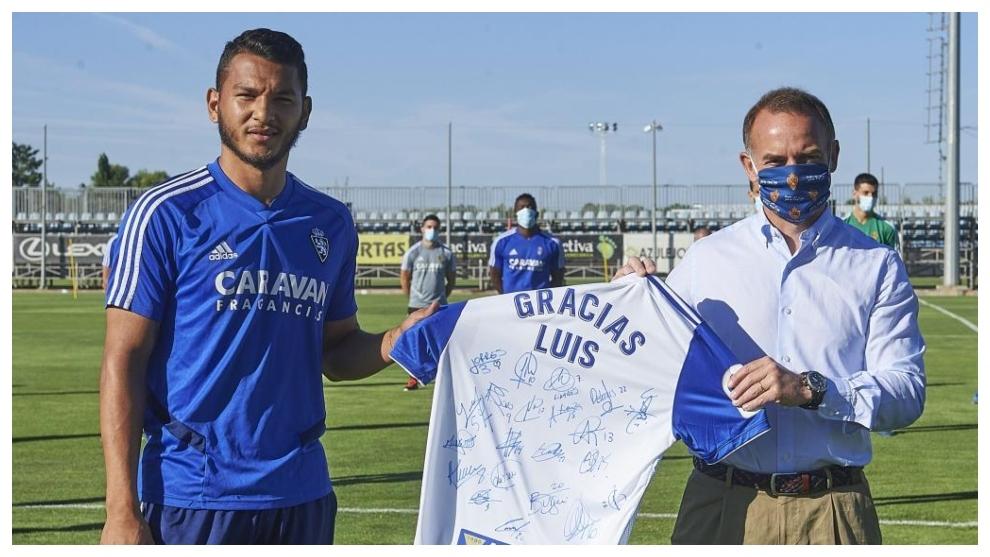 Luis Suárez, en su despedida del Real Zaragoza.