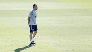 Luis Enrique, durante la sesión de entrenamiento del sábado por la...