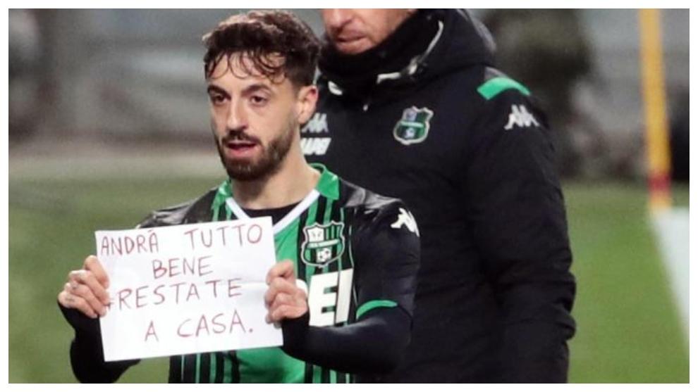 """Francesco Caputo exhibe su mensaje: """"Todo saldrá bien, quédate en..."""