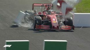 Vettel, en el momento de perder los frenos del Ferrari.