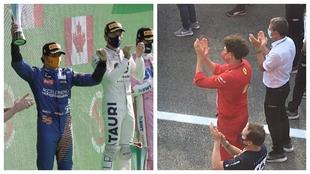 Sainz, en el podio, mientras Binotto aplaude.