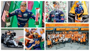 Carlos Sainz celebra su segundo puesto en Monza.