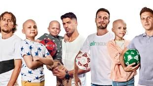 Saúl, junto a Modric, Luis Suárez, Joaquín y los niños enfermos de...