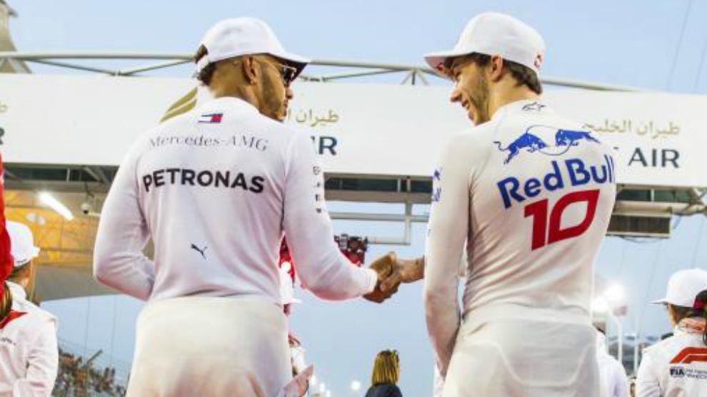 Hamilton estrecha la mano de Gasly.