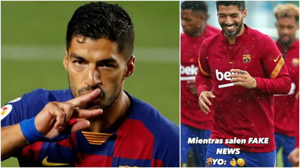 Suarez's cryptic message: While fake news comes out, I smile