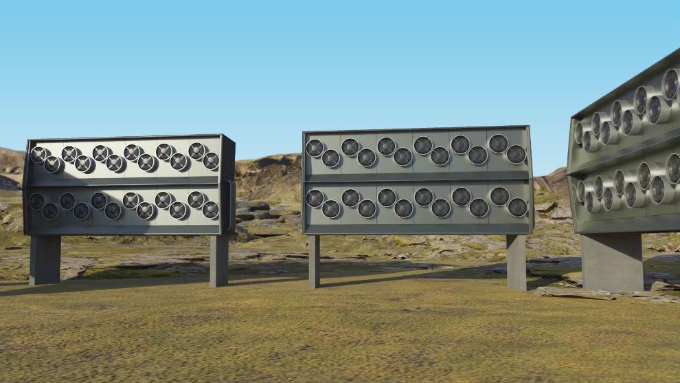 La instalación de Climeworks que filtra el CO2 del aire.