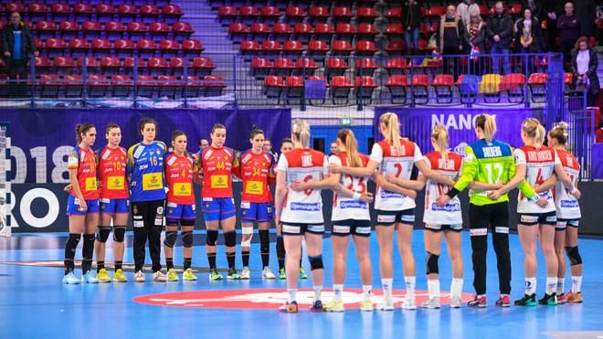 Las selecciones femenina de España y Noruega, en un partido del...