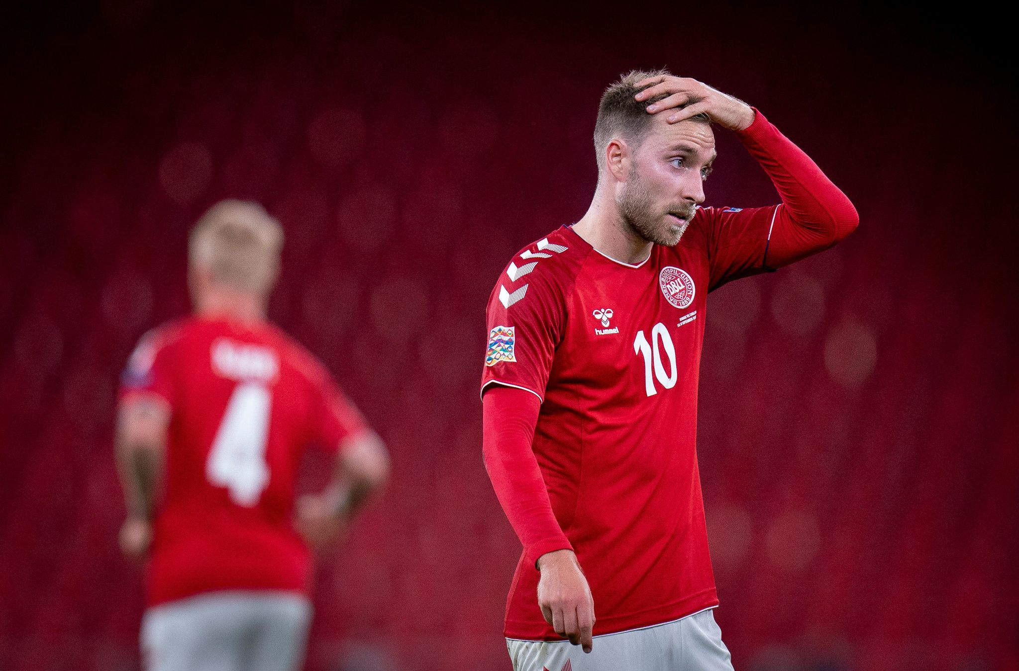 Denmark's midfielder Christian lt;HIT gt;Eriksen lt;/HIT gt; reacts after the UEFA Nations League football match between Denmark and England on September 8, 2020 in Copenhagen, Denmark. (Photo by Liselotte Sabroe / Ritzau Scanpix / AFP) / Denmark OUT