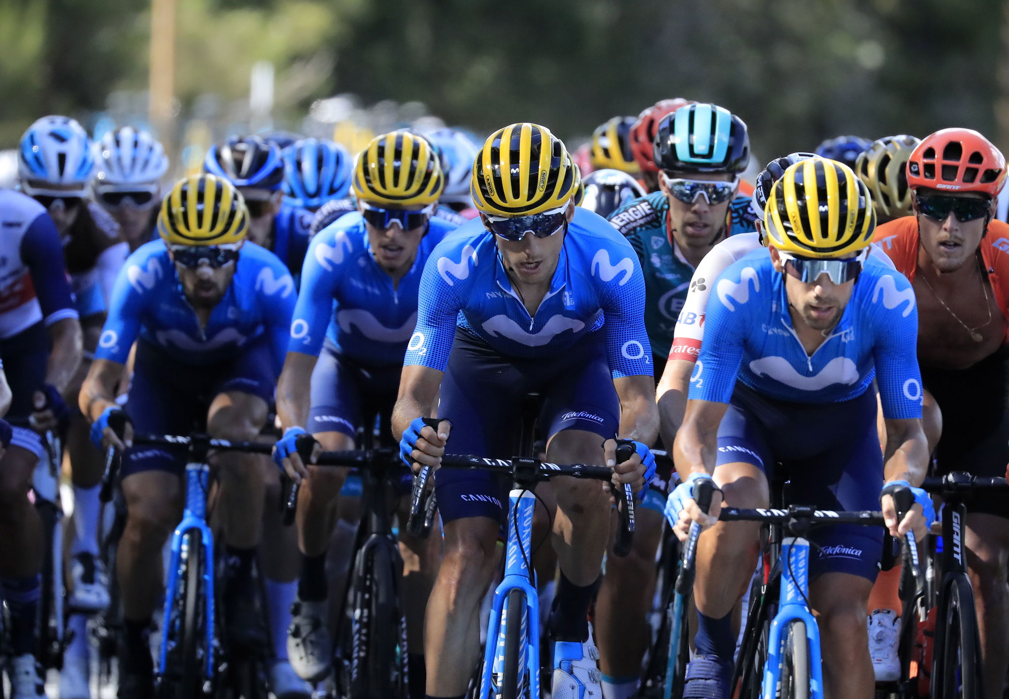 Sarran (France), 10/09/2020.- Riders of Movistar Team in action during the 12th stage of the lt;HIT gt;Tour lt;/HIT gt; de France cycling race over 218km from Chauvigny to Sarran, France, 10 September 2020. (Ciclismo, Francia) EFE/EPA/CHRISTOPHE PETIT TESSON