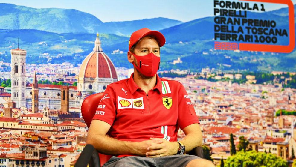 Sebastian Vettel, en la rueda de prensa del juevs en el GP de La...