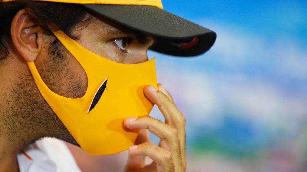 Carlos Sainz, durante la rueda de prensa del jueves en el GP de La...