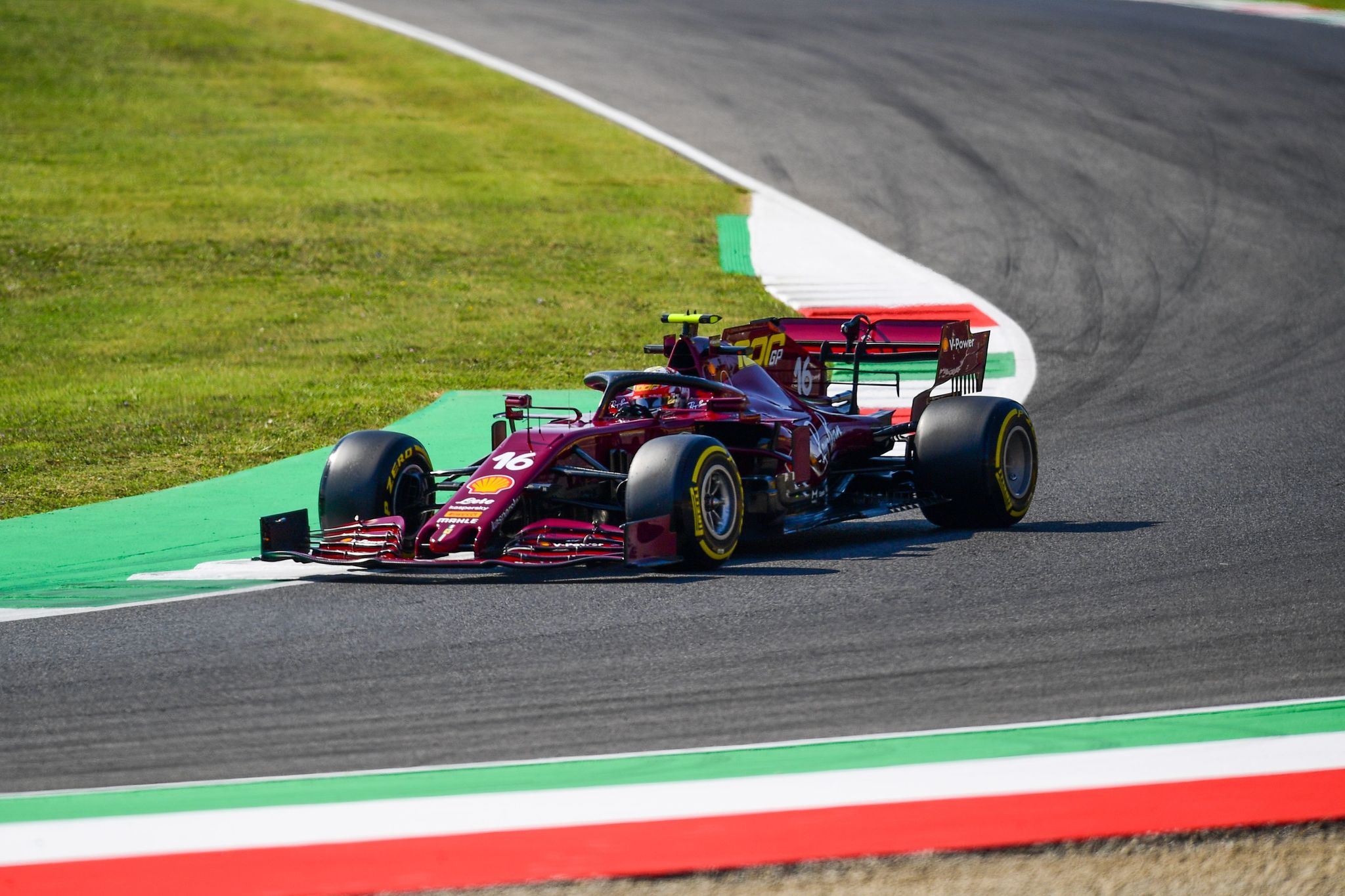 lt;HIT gt;Ferrari lt;/HIT gt;'s Monegasque driver Charles Leclerc drives during the first practice session at the Mugello circuit ahead of the Tuscany Formula One Grand Prix in Scarperia e San Piero on September 11, 2020. (Photo by Miguel MEDINA / AFP)