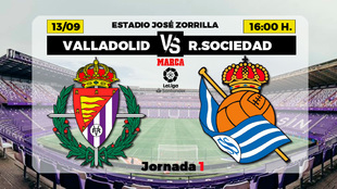 Horario y donde ver en TV el Valladolid - Real Sociedad de la Liga...