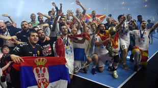 El Vardar macedonio, celebrando su triunfo en la última final Four de...