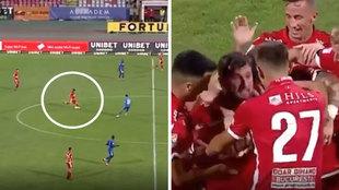 Borja Valle debuta a lo grande en Rumanía: ¡marca el gol de su vida desde 60 metros!