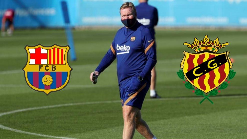 Ronald Koeman durante un entrenamiento con el Barcelona