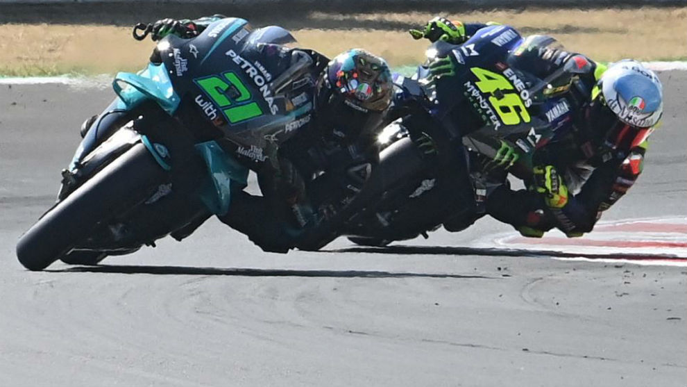 Morbidelli, delante de Rossi, hoy en Misano.