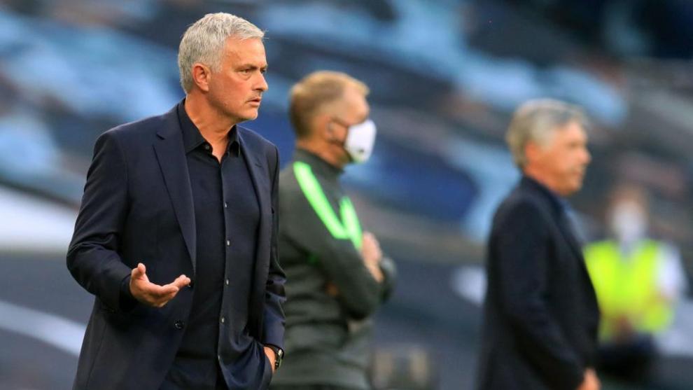 José Mourinho durante el partido ante el Everton
