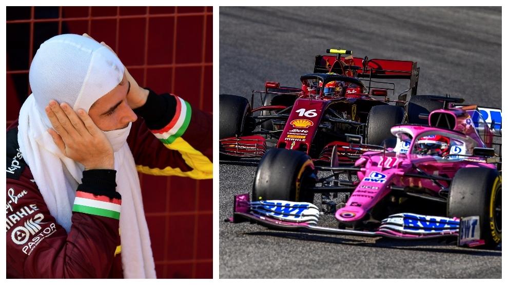 Leclerc, por detrás de Checo Pérez.