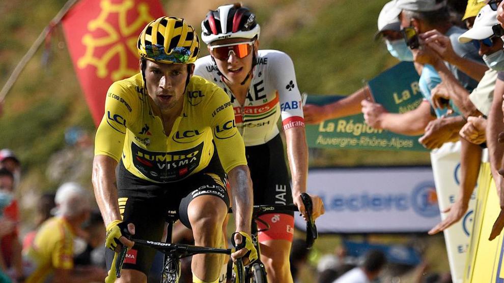 Roglic y Pogacar durante una etapa de este Tour de Francia 2020.