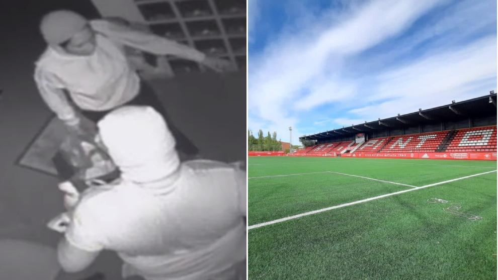 Un momento del robo (vídeo elmundo) y el exterior del estadio (foto...