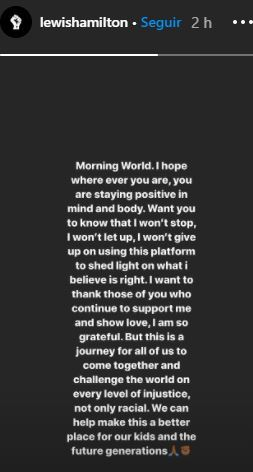 Mensaje en la cuenta de Instagram de Hamilton