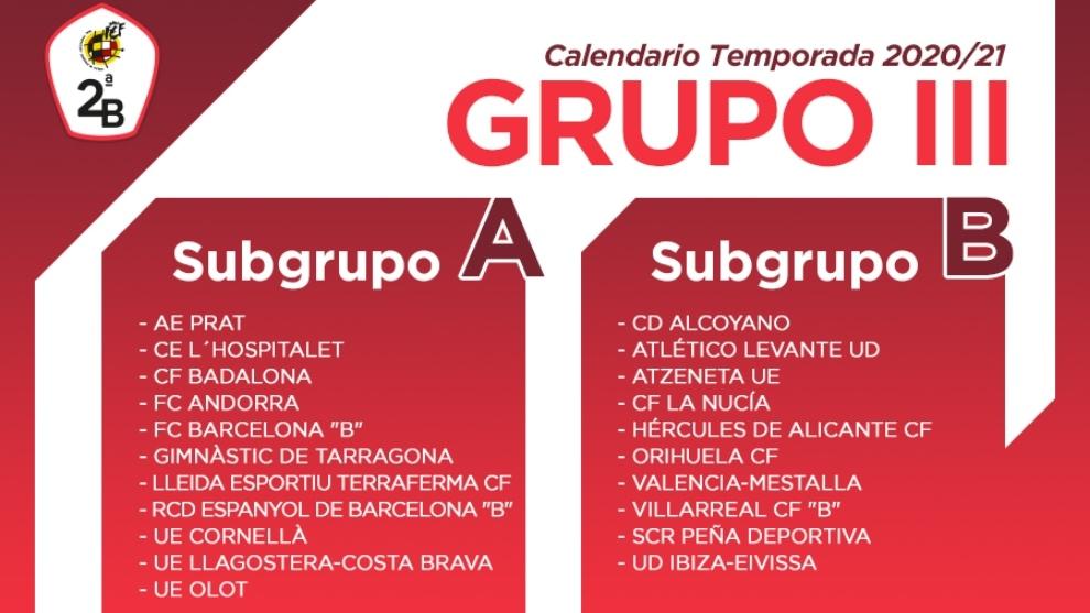 Así es el calendario del Grupo III de Segunda B: Subgrupo A y B