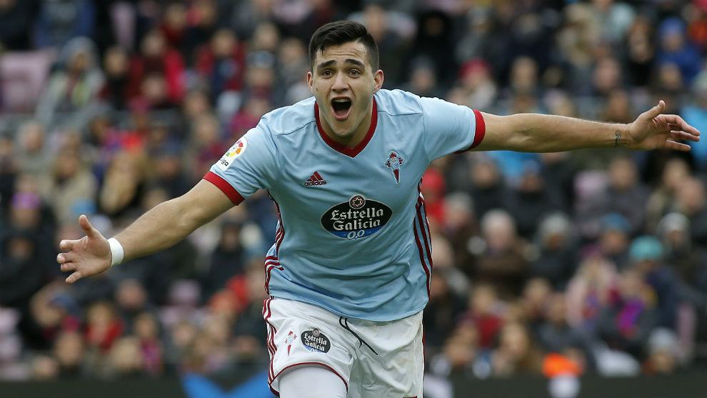 Maxi Gómez celebrando un gol con el Celta de Vigo