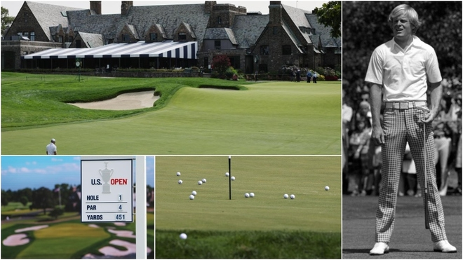 Varias imágenes del campo de del Winged Foot Golf Club y Johnny...