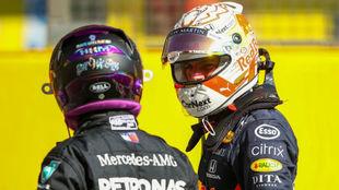 Hamilton y Verstappen, en la pasada cita de Mugello.