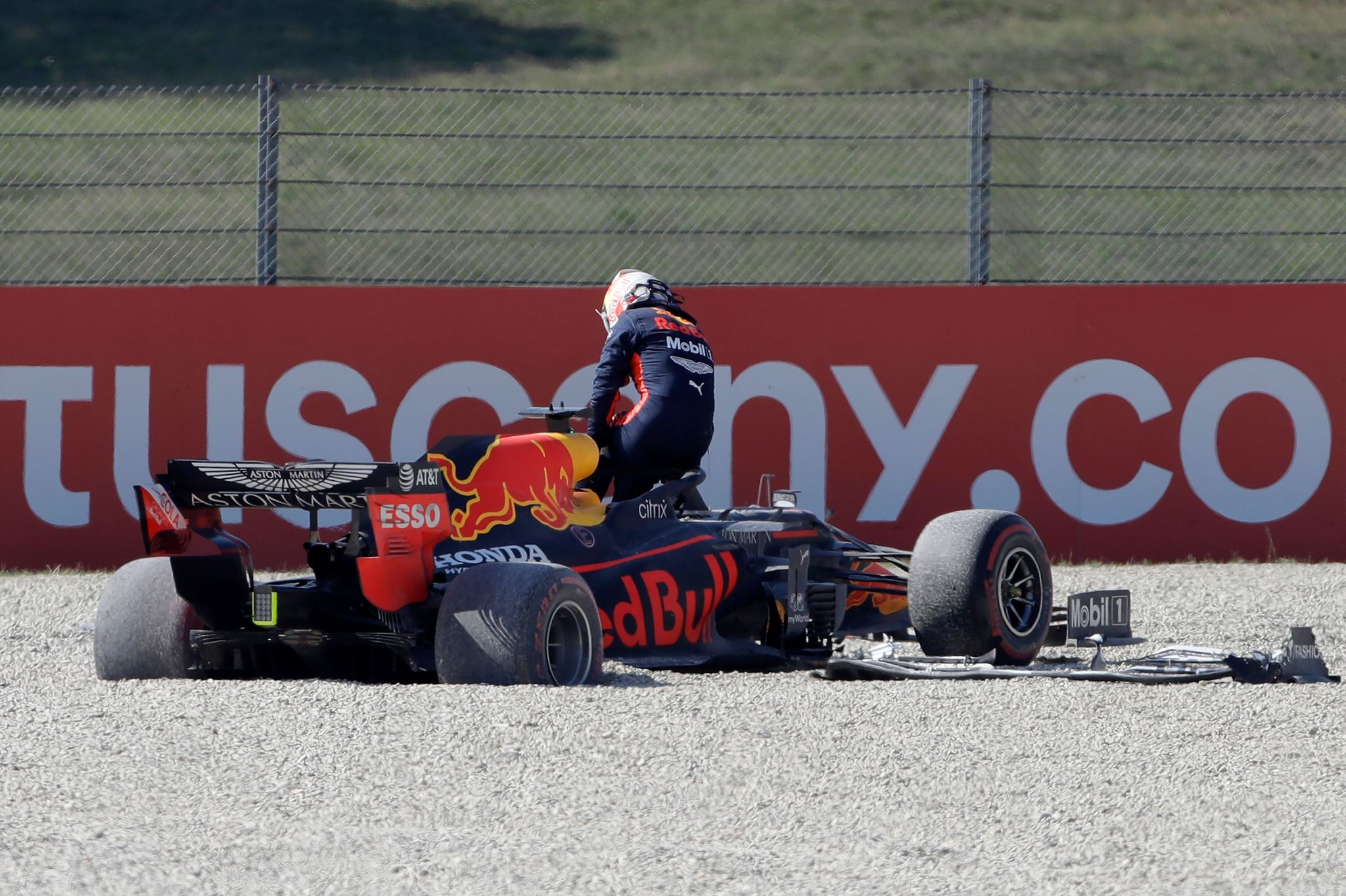 Red Bulls Dutch driver Max lt;HIT gt;Verstappen lt;/HIT gt; leaves his car after a crash during the Tuscany Formula One Grand Prix at the Mugello circuit in Scarperia e San Piero on September 13, 2020. (Photo by Luca Bruno / POOL / AFP)