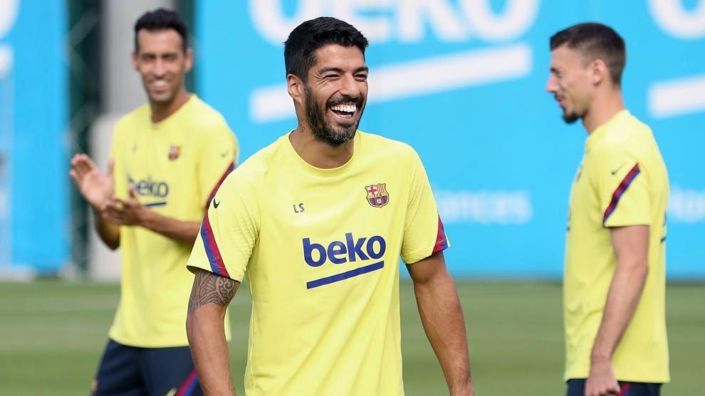 Luis Suárez, en un entrenamiento del Barcelona.