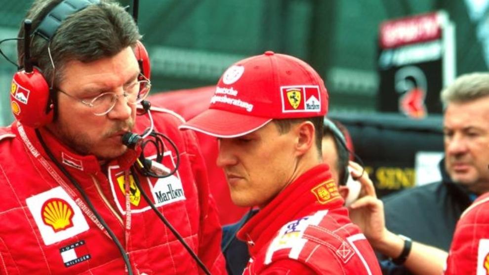 Ross Brawn y Michael Schumacher.