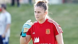 Sandra Paños durante un entrenamiento de la selección española en...