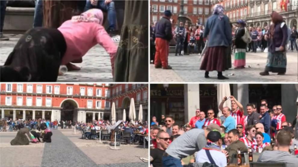 Tres meses de cárcel y una indemnización de 1500 euros para los hinchas del PSV que humillaron a mujeres que pedían limosna