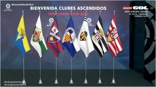 """Las nuevas banderas """"virtuales"""" en la sede de LaLiga, de los..."""