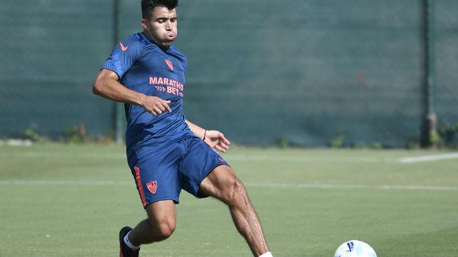 Marcos Acuña, en su primer entrenamiento.