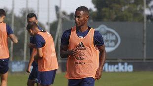 Beauvue, durante un entrenamiento con el Deportivo.
