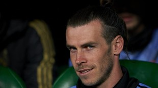 Bale, en el banquillo de suplentes del Real Madrid.