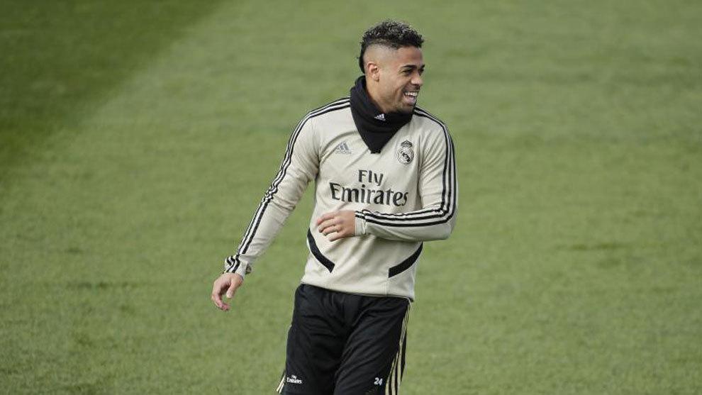 Mariano, durante un entrenamiento con el Real Madrid