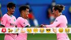 Trincao, Griezmann y Coutinho celebran el 1-0
