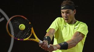 Rafael Nadal en su duelo ante Carreño.